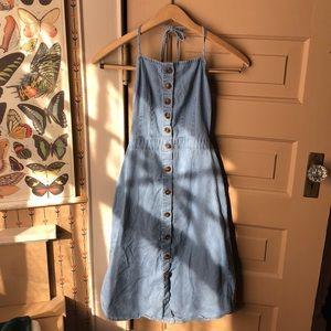 Button-Up Backless Denim Sundress